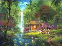 Teich See Wassfall Gemälde