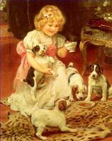 Haustier und Kinder Gemälde