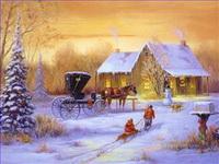 Landschaft im Schnee Gemälde