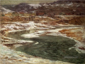 Landschaft Malerei - Winter Brookville Landschaft John Ottis Adams