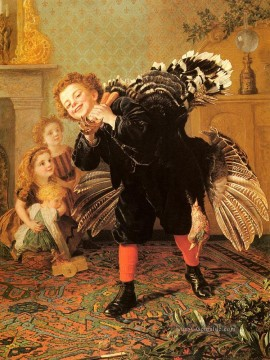 Christmas Kunst - Weihnachtszeit Heres The Gobbler Genre Sophie Gengembre Anderson