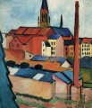 Houses With A Chimney August Macke