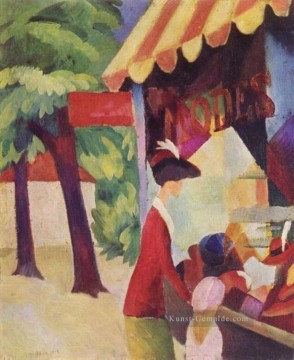 A Woman With Red Jacket And Child Before The Hat Store August Macke Ölgemälde