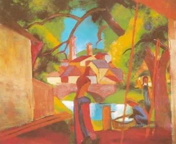 August Macke Werke - Kinder an der Pumpe Kinderam Brunnen August Macke