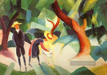 August Macke Werke - Kinder mit Ziege Kindermit Ziege August Macke