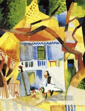 August Macke Werke - Hof eines Villa in St Germain August Macke