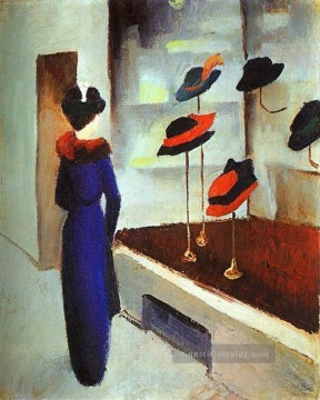 August Macke Werke - Milliners Shop Hut beladen August Macke