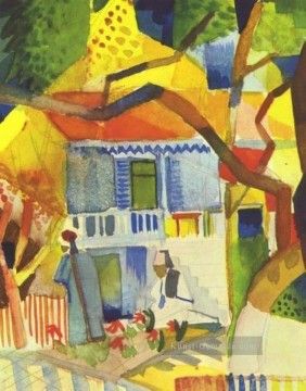 August Macke Werke - Innenhof des Landhauses in St Germain August Macke