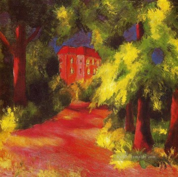August Macke Werke - Rotes Haus am Park August Macke