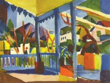 August Macke Werke - Terrasse des Landhauses in St Germain August Macke