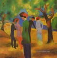 A Woman In Green Jacket August Macke