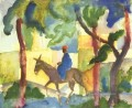 Donkey pferd man August Macke