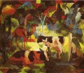 Landschaft With Cows And Camel August Macke