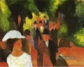 Promenade with Half Length of Girl in White August Macke
