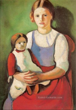 August Macke Werke - Blond Girl with Doll Blondes Madchenm it Puppe August Macke