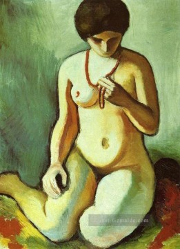 Nude with Coral Necklace Aktmit Korallen kette August Macke Ölgemälde
