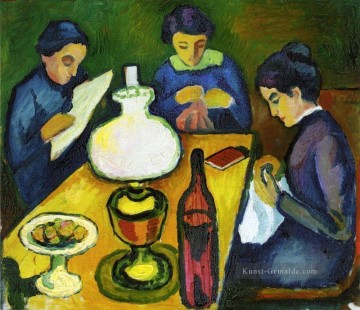 August Macke Werke - Three Women at the Table by the Lamp August Macke
