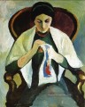 Woman Embroidering in an Armchair Porträt of the Artists Wife August Macke