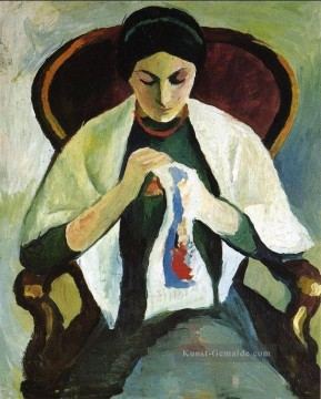 Woman Embroidering in an Armchair Porträt of the Artists Wife August Macke Ölgemälde
