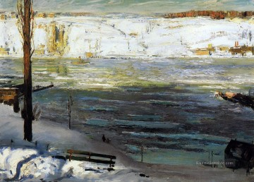 Eisgang George Wesley Bellows 1910 Realist Landschaft George Wesley Bellows Ölgemälde