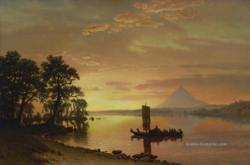 the annunciation 1785 Ölbilder verkaufen - INDIANS AUF DEM COLUMBIA RIVER MIT MOUNT HOOD IN THE DISTANCE American Albert Bierstadt