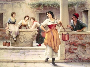 Flirtation at the Well lady Eugene de Blaas