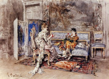 The Conversation Genre Giovanni Boldini Ölgemälde