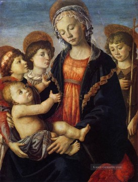 Sandro Botticelli Gemälde - The Virgin And Child With Two Angels Sandro Botticelli
