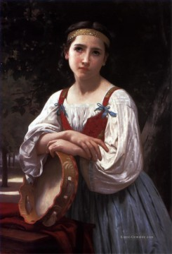 William Adolphe Bouguereau Werke - Bohemienne au Tambour de Basque Realismus William Adolphe Bouguereau