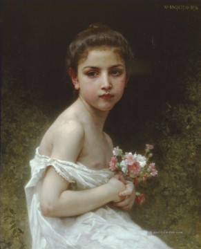 William Adolphe Bouguereau Werke - Petite fille au bouquet Realismus William Adolphe Bouguereau