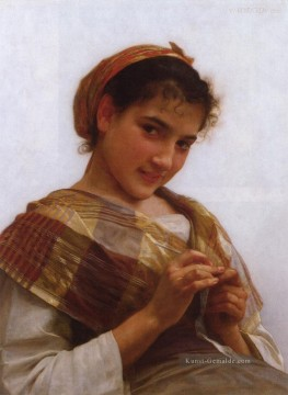 William Adolphe Bouguereau Werke - Porträt of a Young Girl Crocheting Realismus William Adolphe Bouguereau