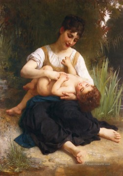 William Adolphe Bouguereau Werke - Adolphe Juene Fille Et Enfant MiCorps Realismus William Adolphe Bouguereau
