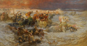 Pharaoh Army Engulfed By The Red Sea Frederick Arthur Bridgman Ölgemälde