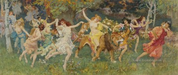 Werke von 350 berühmten Malern Werke - dancing fairies on lion in forest girls woman beauty Frederick Arthur Bridgman