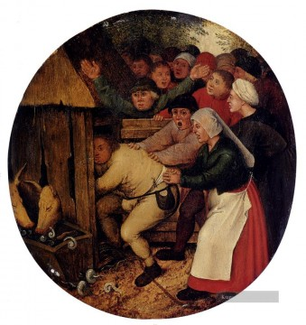 Pushed Into The Stallung Bauer genre Pieter Brueghel der Jüngere
