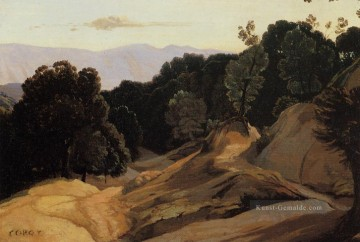 romantische romantik Ölbilder verkaufen - Road through Wooded Berge plein air Romantik Jean Baptiste Camille Corot
