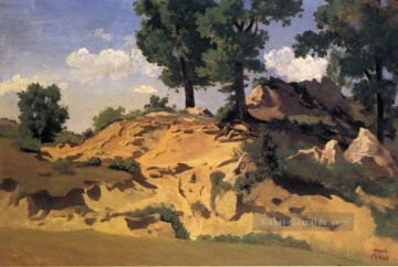 romantische romantik Ölbilder verkaufen - Trees and Rocks at La Serpentara plein air Romantik Jean Baptiste Camille Corot