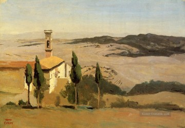romantische romantik Ölbilder verkaufen - Volterra Church and Bell Tower plein air Romantik Jean Baptiste Camille Corot