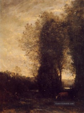 romantische romantik Ölbilder verkaufen - A Cow and its Keeper plein air Romantik Jean Baptiste Camille Corot