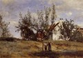 An Orchard at Harvest Time plein air Romantik Jean Baptiste Camille Corot