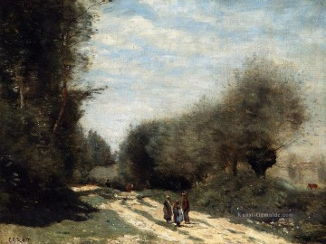romantische romantik Ölbilder verkaufen - Crecy en Brie Road in the Country plein air Romantik Jean Baptiste Camille Corot