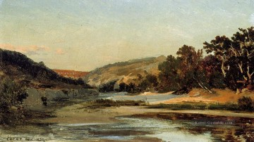 romantische romantik Ölbilder verkaufen - The Aqueduct in the Valley plein air Romantik Jean Baptiste Camille Corot