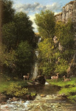 realistischer realismus Ölbilder verkaufen - A Family Of Deer In A Landschaft With A Waterfall realistischer Maler Gustave Courbet