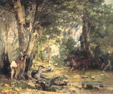 realistischer realismus Ölbilder verkaufen - The Shelter of the Roe Deer at the Stream of Plaisir Fontaine Doubs realistischer Maler Gustave Courbet