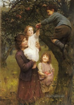 Picking Apples idyllische Kinder Arthur John Elsley
