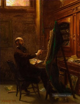 Street Kunst - Worthington Whittredge in seinem Tenth Street Studio Emanuel Leutze