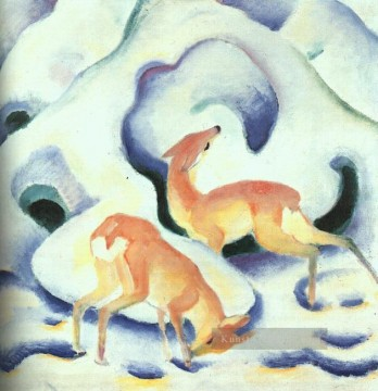Franz Marc Werke - Deer in the Snow Franz Marc