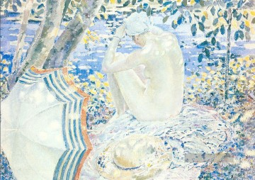 On the Bank Impressionist Frauen Frederick Carl Frieseke