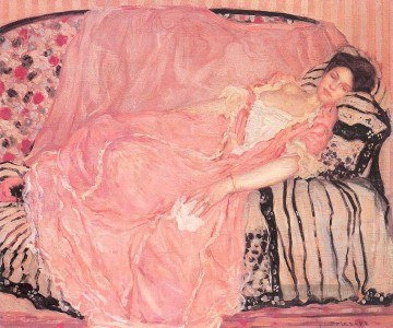Porträt of Madame Gely On the Couch Impressionist Frauen Frederick Carl Frieseke