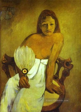 Paul Gauguin Werke - Girl with a Fan Post Impressionismus Primitivismus Paul Gauguin